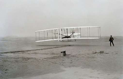 The Wright Brothers in the first ever powered aircraft in 1903